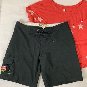 Roxy Shorts Board Shorts with Pockets & Tie Front